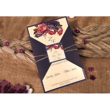 Invitatie de Nunta cu Model Floral Elegant 52530