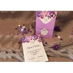 Invitatie de Nunta cu Model Floral Hortensii 52531