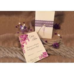 Invitatie de Nunta cu Model Floral si Dantela mov 52533