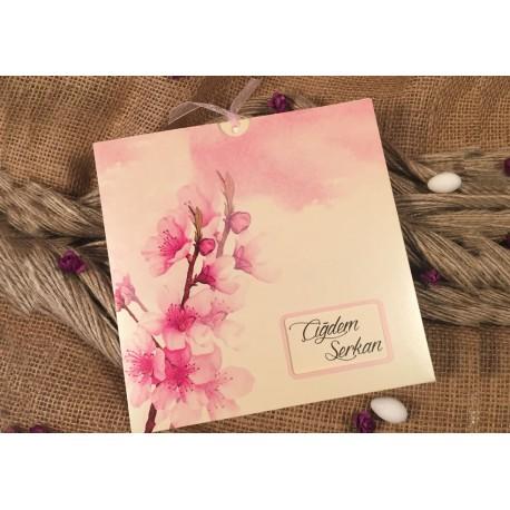 Invitatie Nunta Eleganta Cu Model Floral Acuarela Flori De Cires 52534
