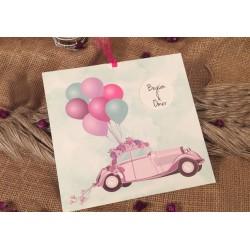 Invitatie de Nunta Haioasa cu Masina vintage si Baloane colorate 52535