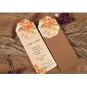 Invitatie de Nunta Kraft cu model Floral 52542