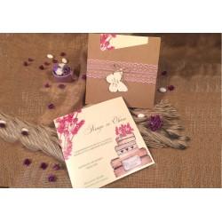 Invitatie de nunta cu Dantela si model Floral roz 52561
