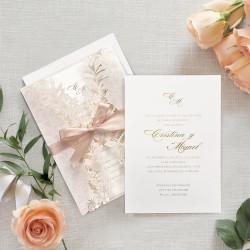 Invitatie de Nunta Eleganta cu Model Floral Laser 39707
