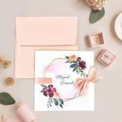 Invitatie de Nunta Eleganta cu Model Floral Watercolor 39708