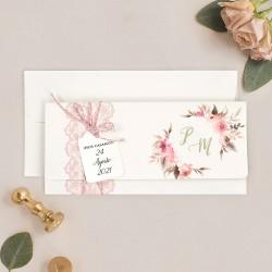 Invitatie de Nunta cu Poza Model Floral si Motiv Dantela 39718