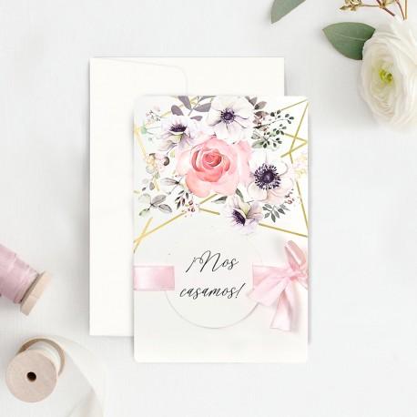 Invitatie de Nunta cu Motiv Elegant Floral Acuarela 39723