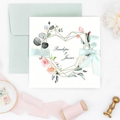 Invitatie de Nunta Deosebita cu Inima aurie si Model Floral 39724