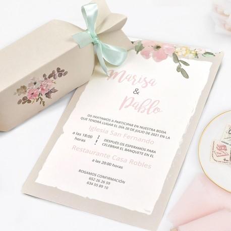 Invitatie de Nunta Deosebita tip Bomboana cu Model Floral 39726