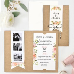 Invitatie de Nunta cu Model Floral Boho si Poze 39732