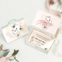 Invitatie de Nunta tip Valiza cu Motiv Floral Hibiscus si Flamingo 39745