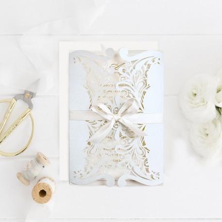 Invitatie De Nunta Eleganta Cu Motiv Decupat Laser Mint 39746 4