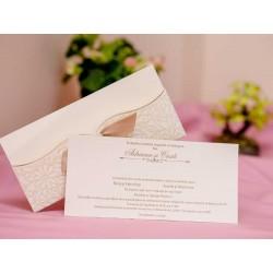 Invitatie de Nunta Eleganta cu Motiv Floral Catifea 5463