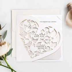 Invitatie de Nunta Eleganta cu Inima Decupata 39748