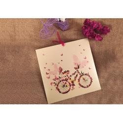 Invitatie de Nunta Eleganta cu Bicicleta din Fluturi 20215
