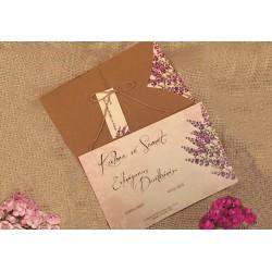 Invitatie de Nunta Rustic Kraft cu Lavanda 41427