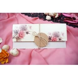 Invitatie de Nunta Eleganta cu Model Floral 63667