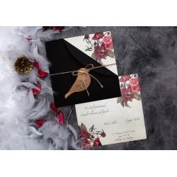 Invitatie de Nunta cu Model Floral Trandafiri Elegant 63672