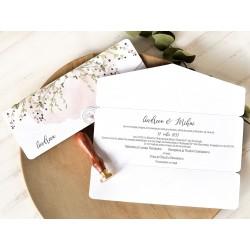 Invitatie de Nunta eleganta cu Motiv Crengute acuarela si timbre 39760