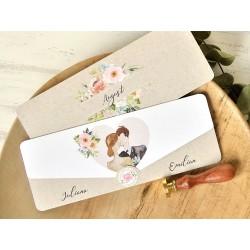 Invitatie de Nunta Romantica cu Miri si model floral 39761