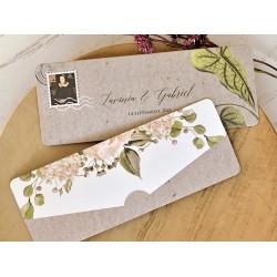 Invitatie de Nunta Eleganta cu model Floral si timbru 39762