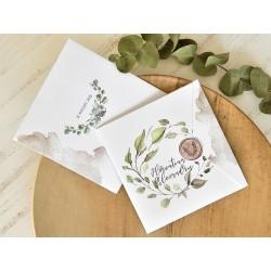 Invitatie de Nunta Eleganta cu Frunze de Eucalipt Acuarela si Pecete 39771