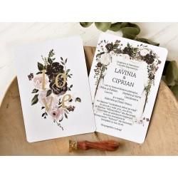 Invitatie de Nunta Eleganta cu model Floral Tomnatic 39780