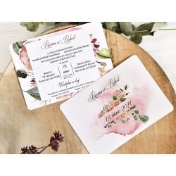 Invitatie de Nunta Elegnata cu Model Floral roz acuarela 39781