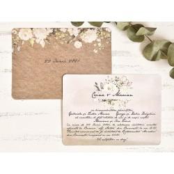 Invitatie de Nunta Vintage tip Scrisoare cu Model Floral 39782