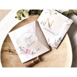 Invitatie de Nunta Eleganta cu Bujori si Flori de bumbac 39776