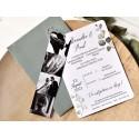Invitatie de Nunta cu Poza si Model Frunza acuarela 39784