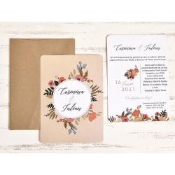 Invitatie de Nunta eleganta cu Motiv Floral Stilizat 39785