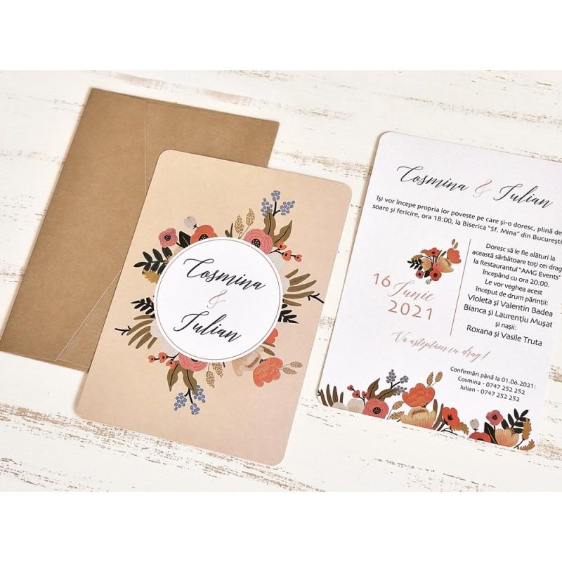 Invitatie De Nunta Ieftina Si Eleganta Cu Motiv Floral Stilizat 39785