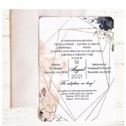 Invitatie de Nunta Deosebita cu Motiv Geometric Auriu si Floral 39787