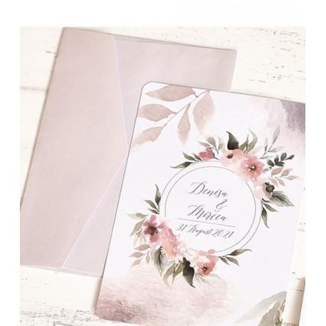 Invitatie de Nunta cu Coronita din Flori Watercolor 39788