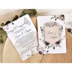 Invitatie de Nunta Deosebita cu Model Floral si Fluture 39789