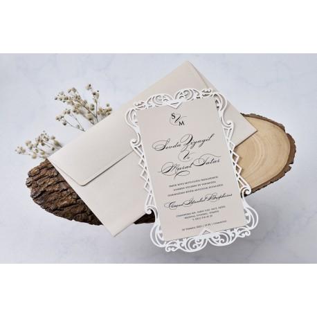 Invitatie de Nunta cu Model Dantelat Elegant 1113