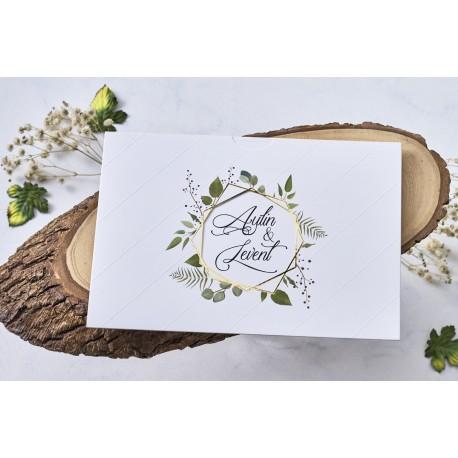 Invitatie de Nunta Deosebita cu Design Auriu si Frunze Tropicale 1115