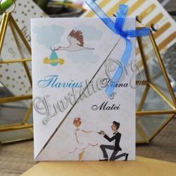 Invitatie nunta si botez baiat cu barza