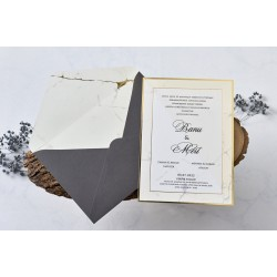 Invitatie de Nunta Eleganta cu detalii Aurii si Gri 1175