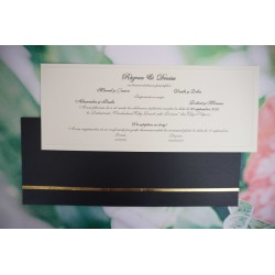 Invitatie de Nunta Eleganta Bleumarine cu Accente Aurii 1181