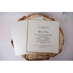 Invitatie de Nunta Eleganta cu Accente Aurii 1186