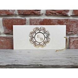Invitatie de Nunta cu Motiv Floral Auriu Vintage 5589