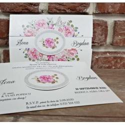Invitatie de Nunta Eleganta cu model Floral 5656