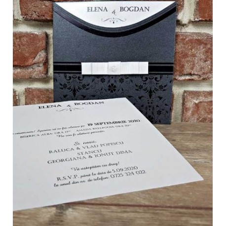 Invitatie de Nunta Eleganta cu Model Floral Negru 5664