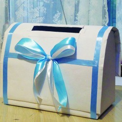 Cufar de dar elegant Alb-Bleu