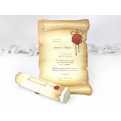 Invitatie de Nunta Papirus cu Sigiliu Embosat 30114