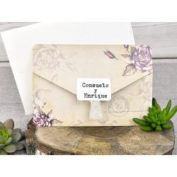 Invitatie de Nunta Vintage PostalCard cu Trandafiri 39313