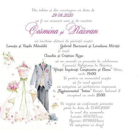 Invitatie de nunta electronica mire si mireasa