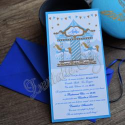 Invitatie de botez carusel bleu
